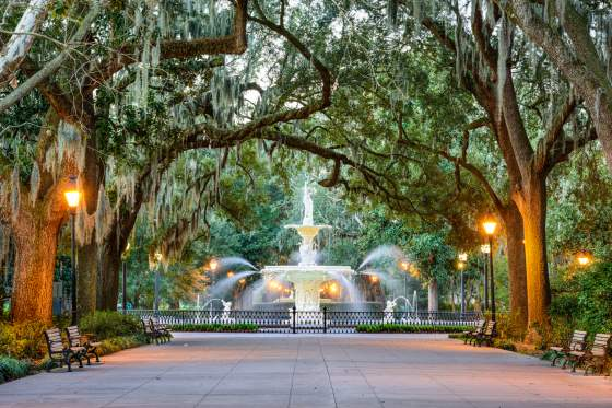 One of the most frequented squares is Forsyth Park.